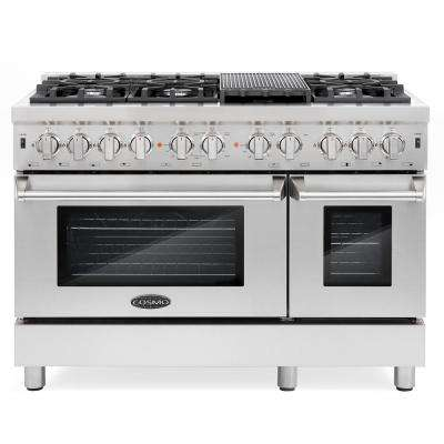 Commercial-Style 48 in. 5.8 cu. ft. Double Oven Dual Fuel Range with 6 Sealed Burners in Stainless Steel