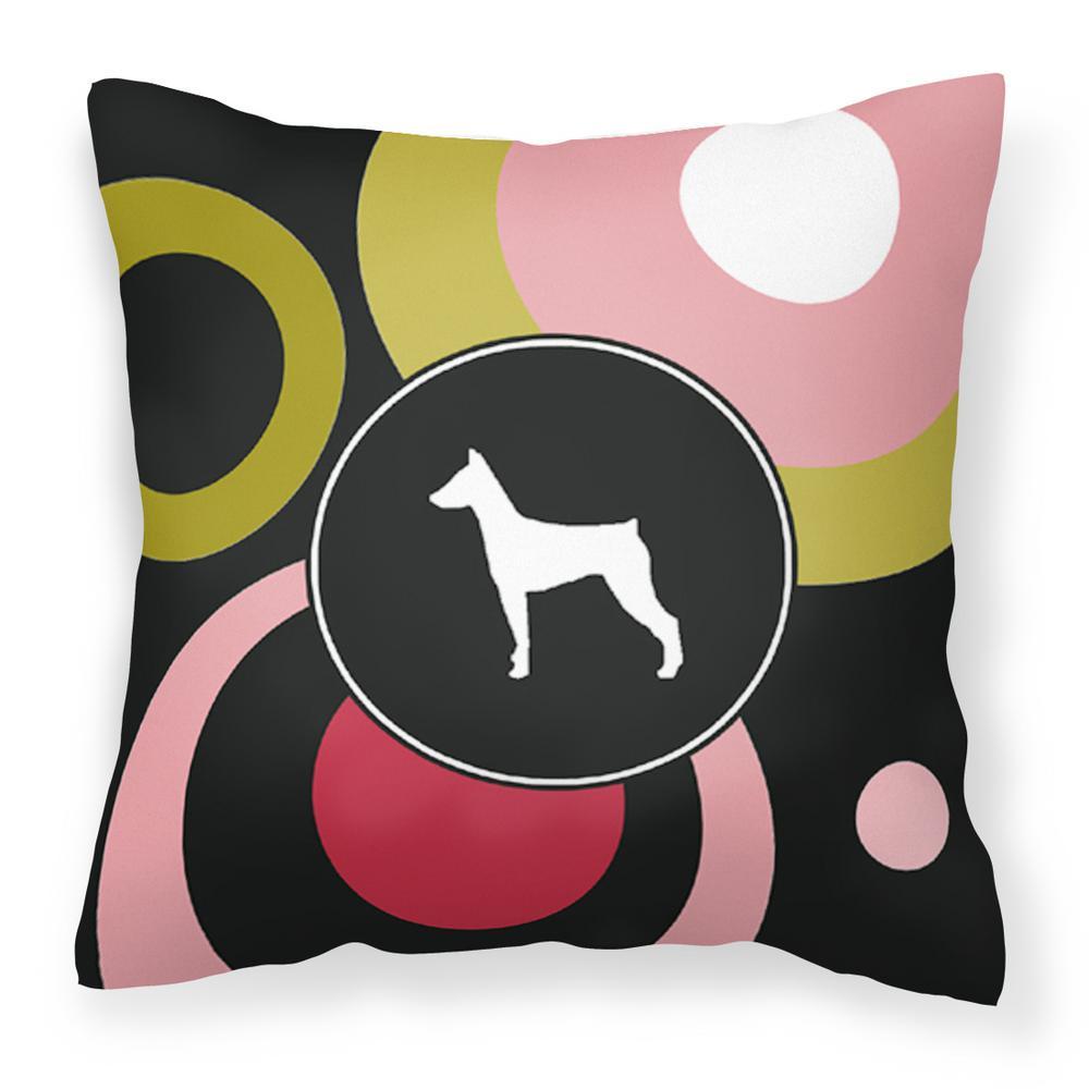 14 in. x 14 in. Multi-Color Lumbar Outdoor Throw Pillow German Pinscher Decorative Canvas Fabric Pillow