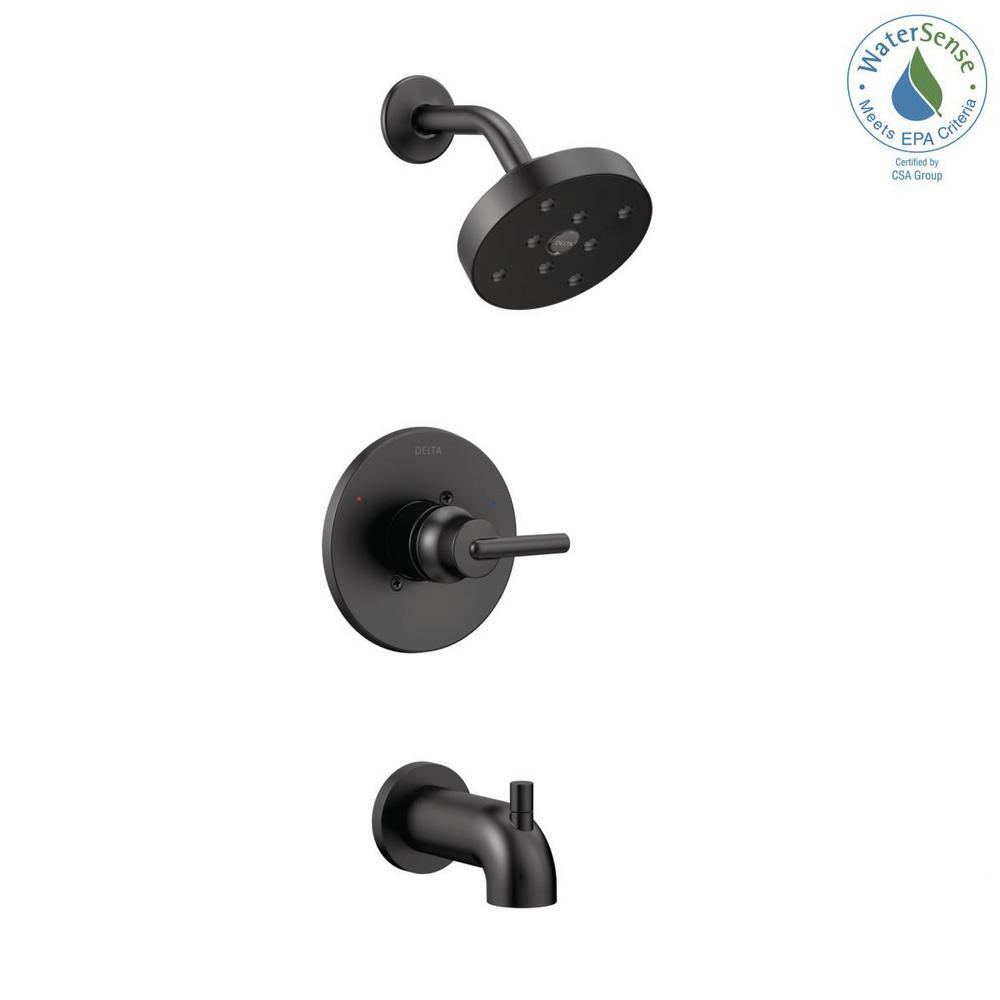 Delta Trinsic 1-Handle Wall Mount Tub and Shower Faucet Trim Kit in Matte Black with H2Okinetic (Valve Not Included)