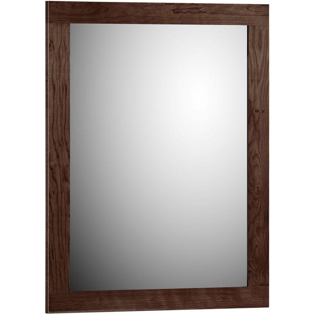 Shaker 24 in. W x .75 in. D x 32 in. H Framed Mirror in Dark Alder