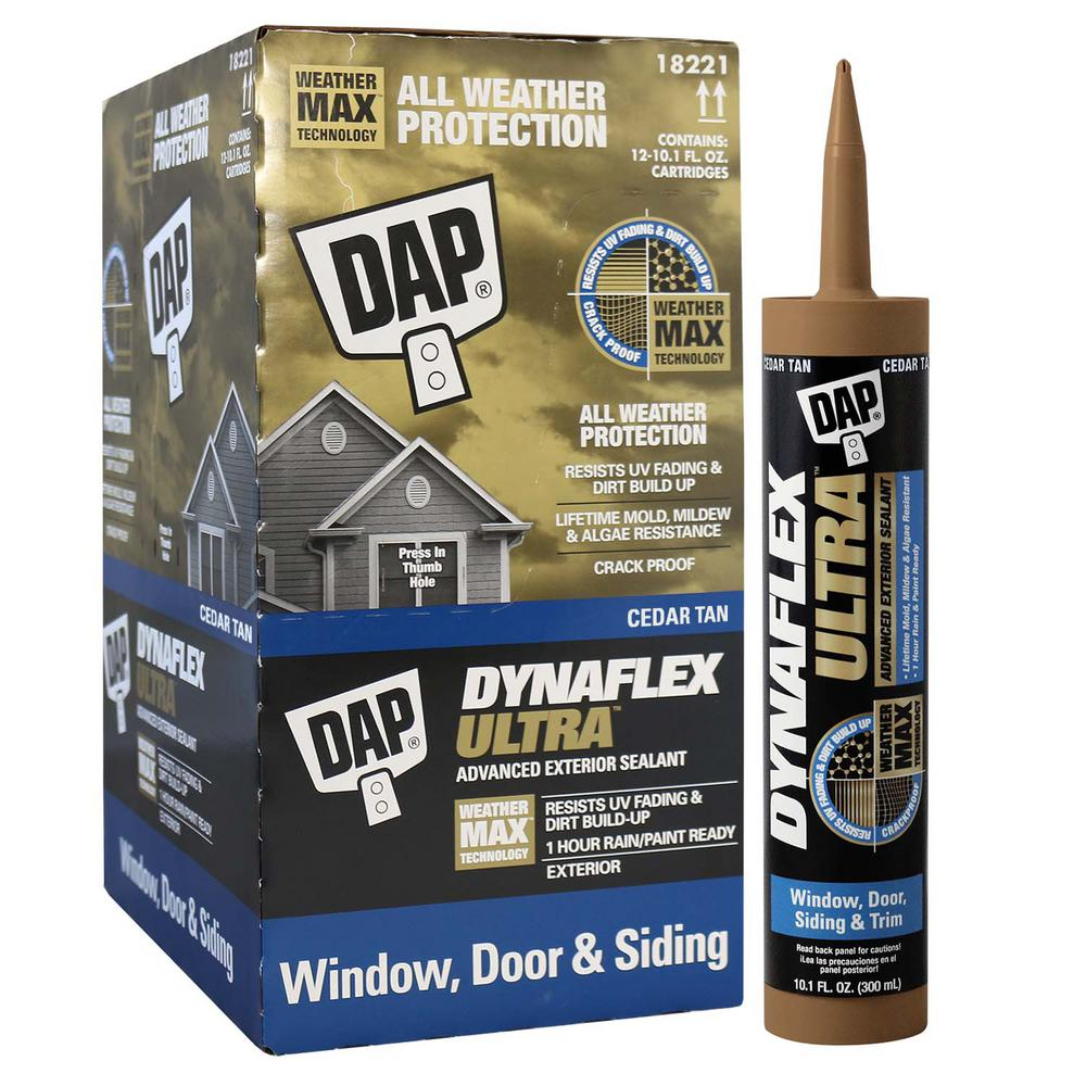 Dap Dynaflex Ultra Cedar Tan 10 1 Oz Advanced Exterior Window Door And Siding Sealant 12 Pack 7079818221 The Home Depot