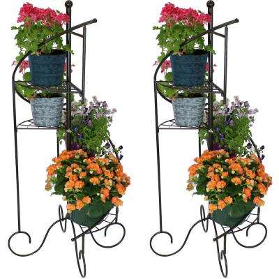 56 in. 4-Tier Metal Iron Plant Stand with Spiral Staircase Design (Set of 2)