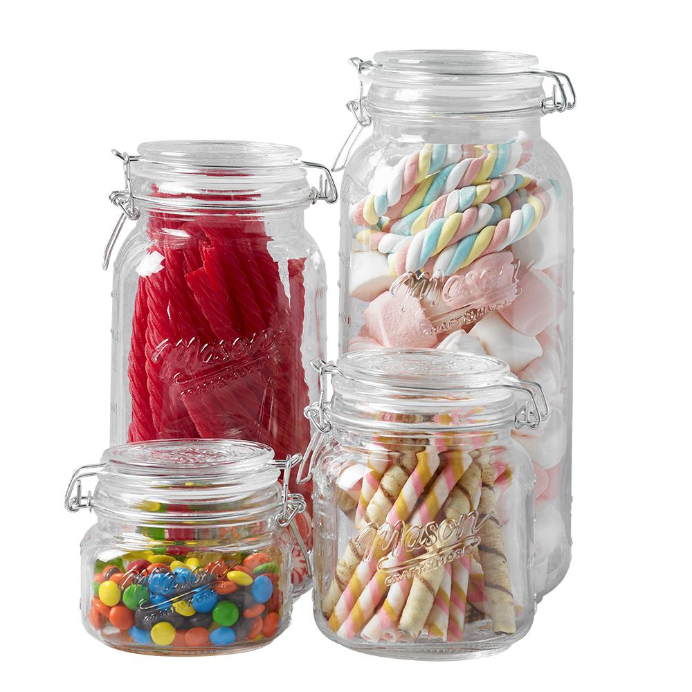 Details about kitchen Craft More 4 Piece Multi-Sized Glass Preserving Jar  Set W/Lids canister