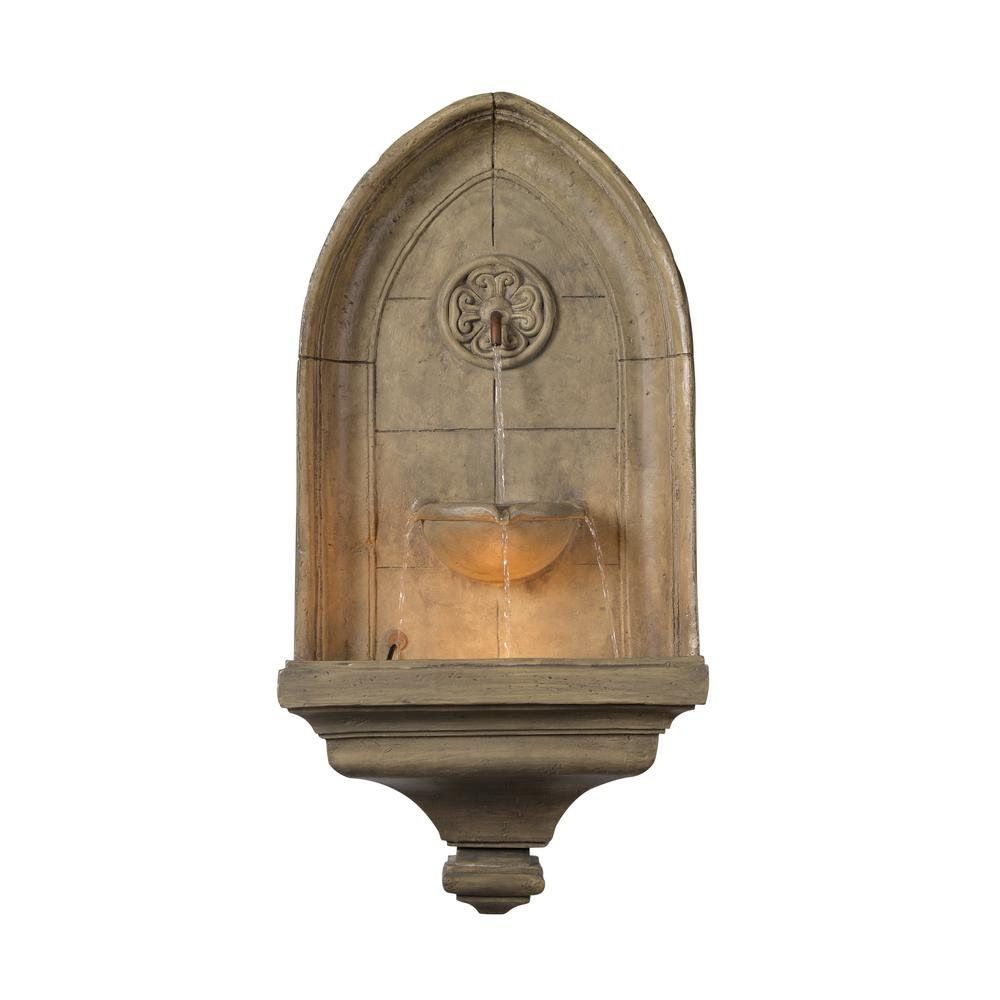 Canterbury Indoor/Outdoor Lighted Wall Fountain,  Gray