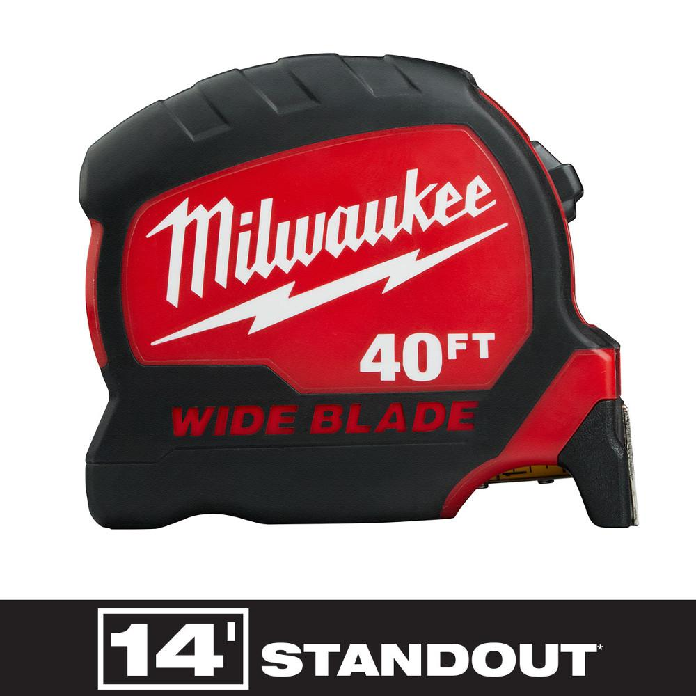 Milwaukee Milwaukee 40 ft. x 1.3 in. W Blade Tape Measure with 14 ft. Standout