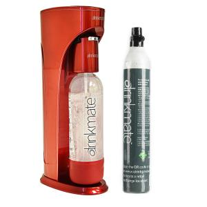 Royal Red Sparkling Water and Soda Machine with 60L CO2 Cartridge and 1L Re-Usable Bottle