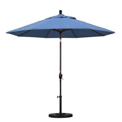 9 ft. Aluminum Push Tilt Patio Umbrella in Frost Blue Olefin