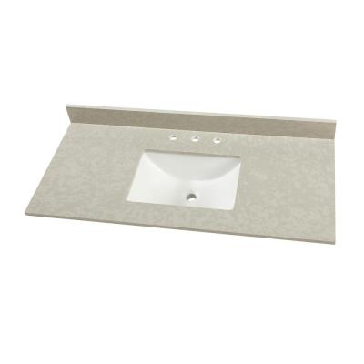 49 in. W x 22 in. D Engineered Marble Vanity Top in Dunescape with White Single Trough Sink