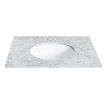 31 in. W x 22 in. D Engineered Stone Single Basin Vanity Top in Winter Lake with White Basin
