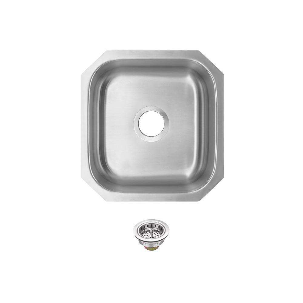 IPT Sink Company Undermount 16 in. 18-Gauge Stainless Steel Bar Sink in Brushed Stainless, Brushed Stainless Steel was $123.75 now $89.0 (28.0% off)
