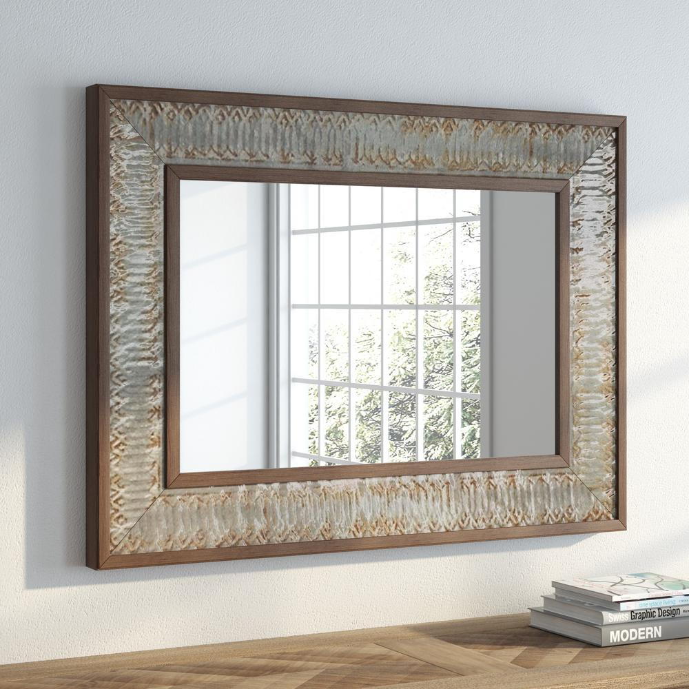 Litton Lane 39 in. x 29 in. Rustic Wood and Metal Framed Mirror ...