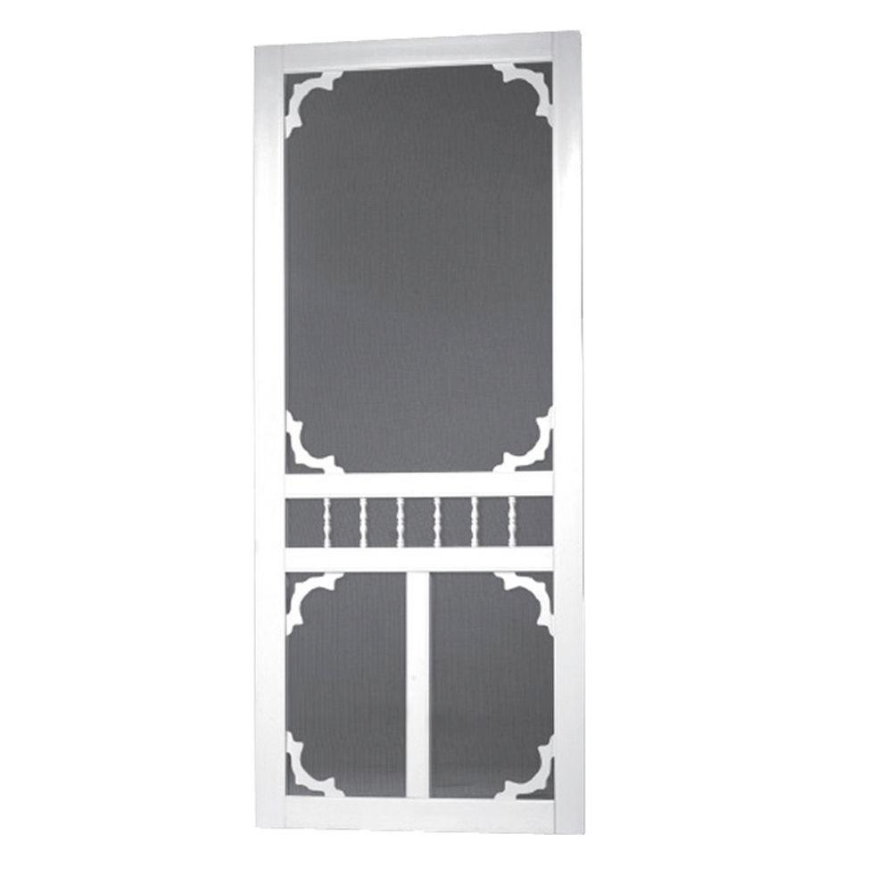 32 in. x 80 in. Vinyl White Carolina Screen Door