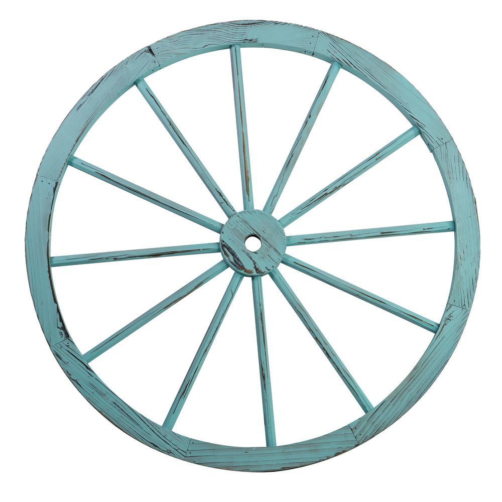 Patio Premier 32 in. Wooden Wagon Wheel in Blue Wash (2-Pack)