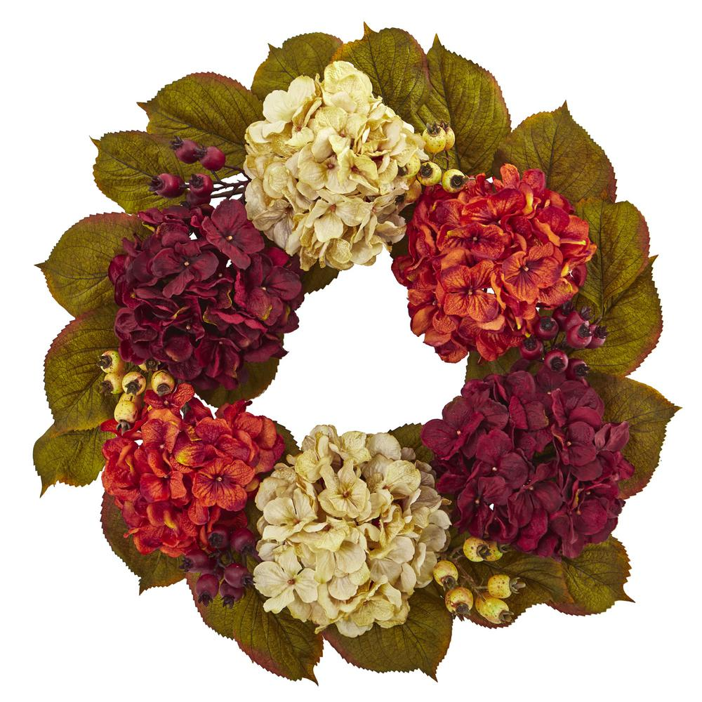 20 in. Unlit Artifical Holiday Wreath with Hydrangea Berry