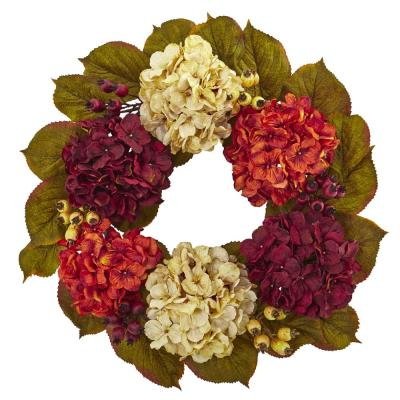 20in. Unlit Artifical Holiday Wreath with Hydrangea Berry
