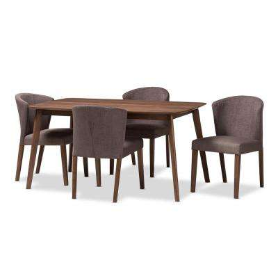 Cassie 5-Piece Brown and Walnut Brown Dining Set