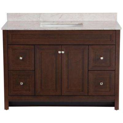 Brinkhill 49 in. W x 39 in. H x 22 in. D Bathroom Vanity in Cognac with Stone Effect Vanity Top in Dune