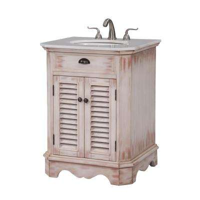 Atkins 26 in. Single Bathroom Vanity with 1-Shelf 2-Doors Marble Top Porcelain Sink in White Wash Finish