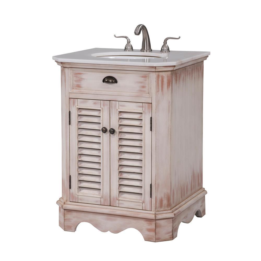 Atkins 26 In Single Bathroom Vanity With 1 Shelf 2 Doors Marble Top