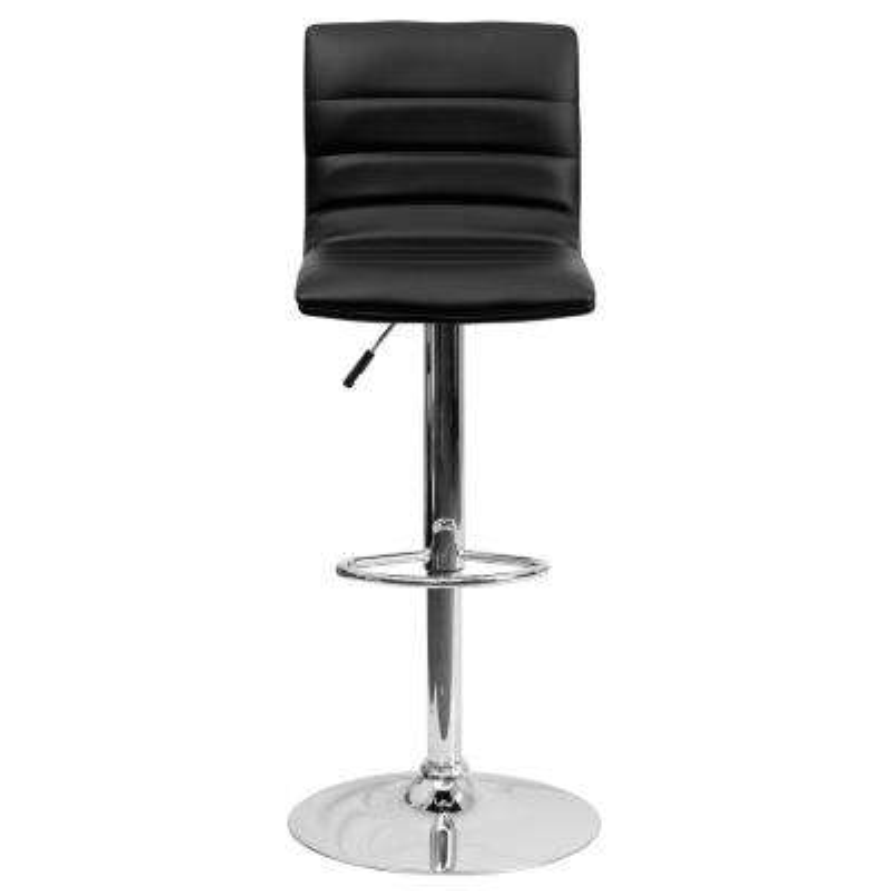 Adjustable Height Black Cushioned Bar Stool
