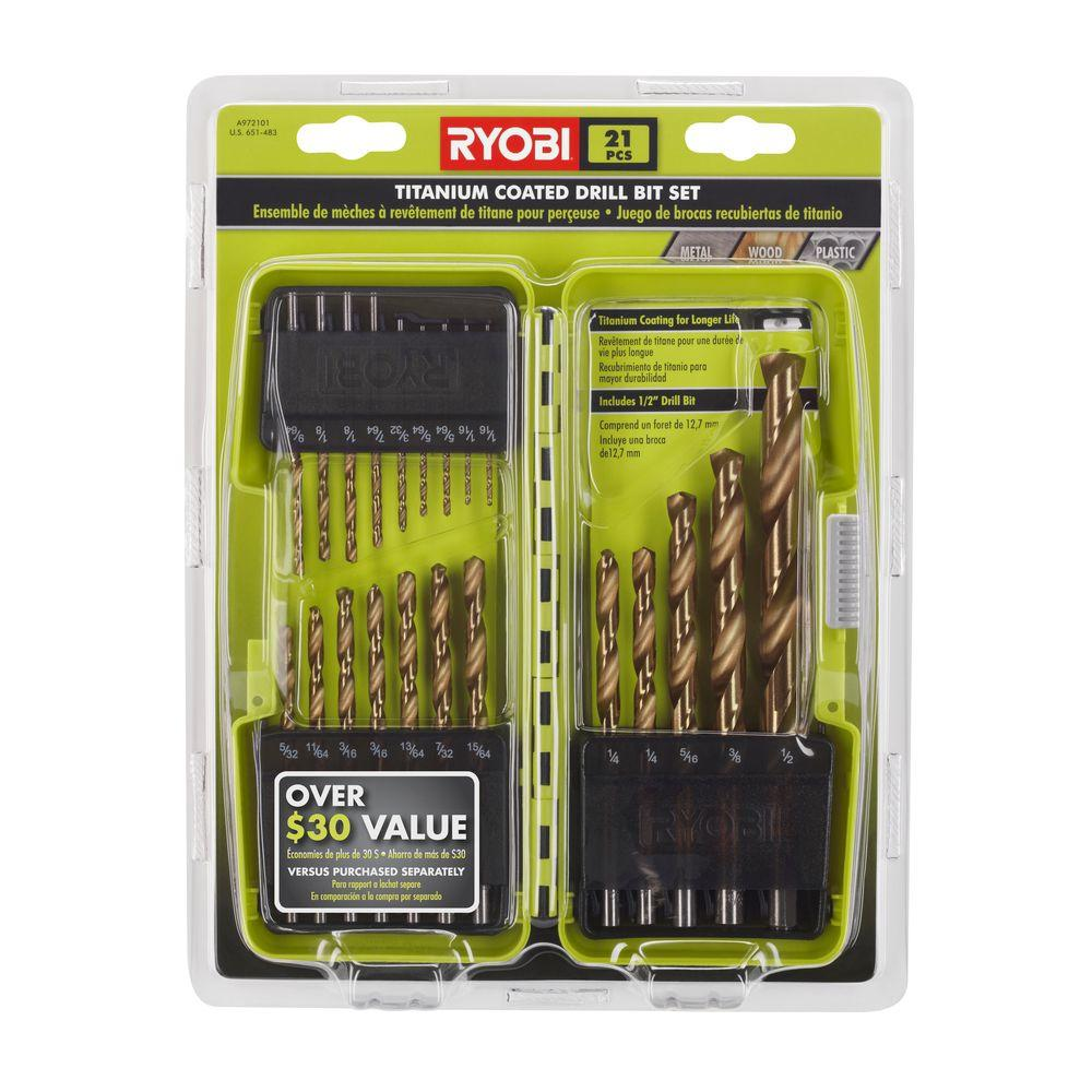 ryobi titanium coated drill bit set 21 piece a972102 the home depot. Black Bedroom Furniture Sets. Home Design Ideas