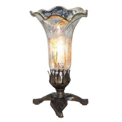 8.25 in. Silver Hand Blown Mercury Glass Lily Lamp with Leaf Base