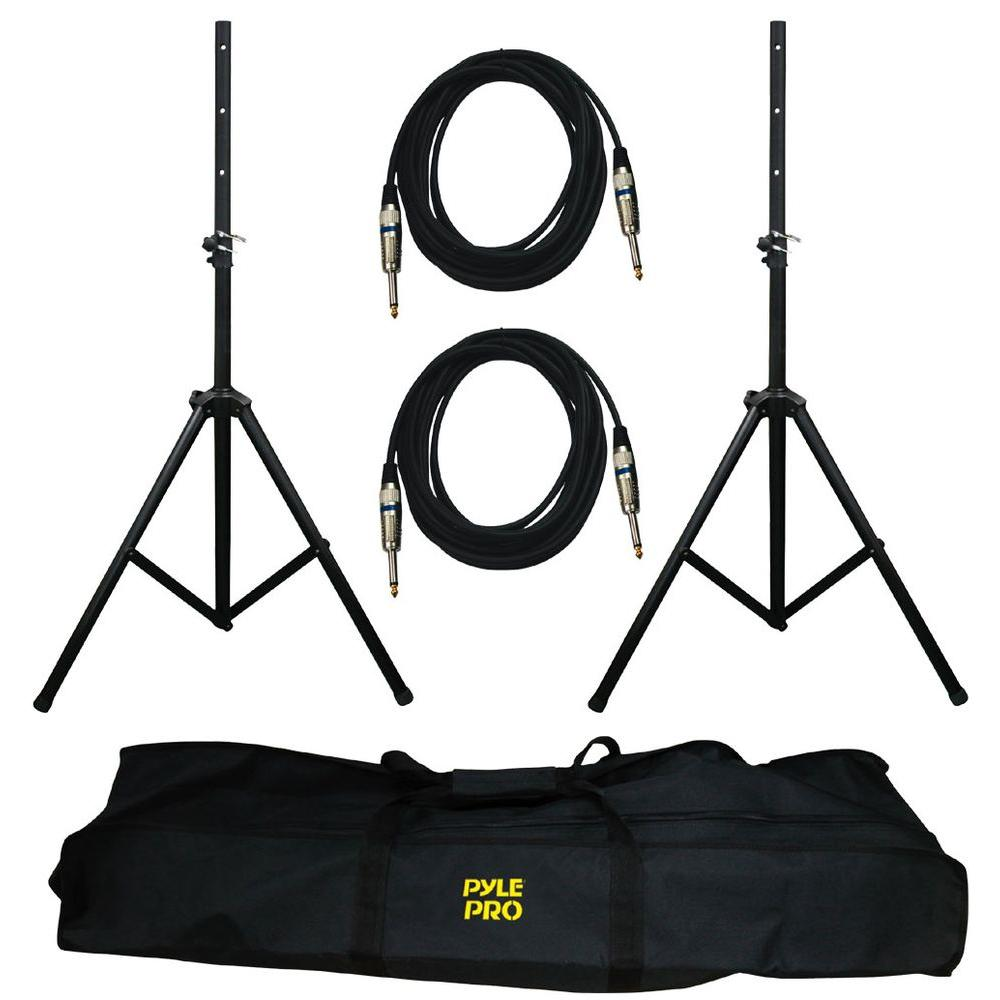 Pyle Heavy-Duty Aluminum Anodizing Dual Speaker Stand and 1/4 in. Phono Cable Kit-DISCONTINUED