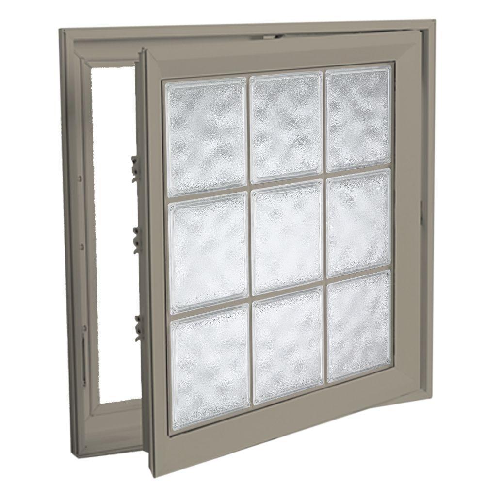 Hy-Lite 21 in. x 53 in. Acrylic Block Right Casement Vinyl Window - Tan