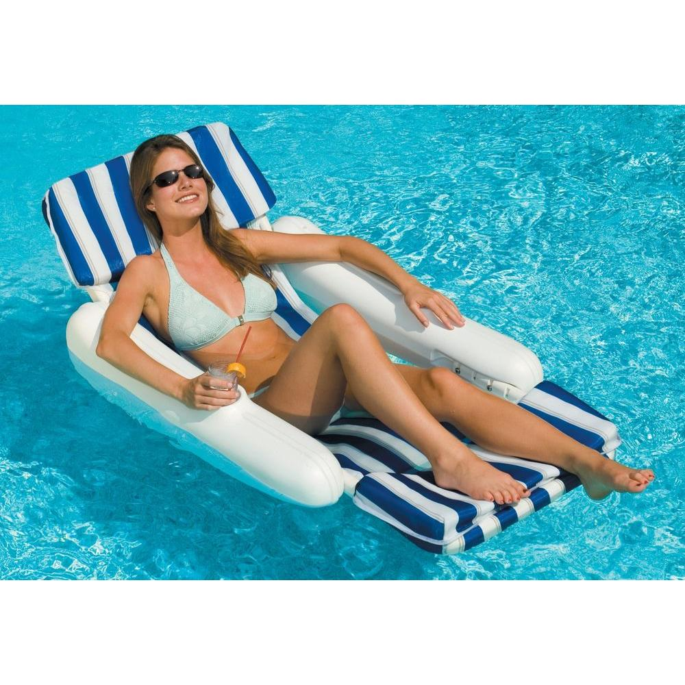Swimline SunChaser Padded Floating Pool Lounge, White/Blue