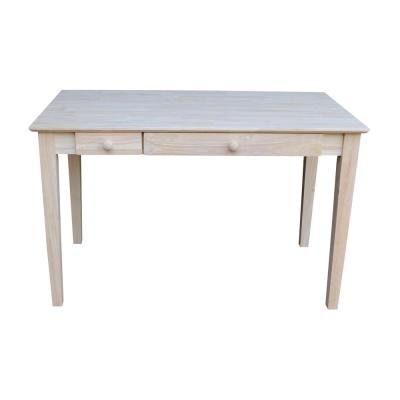 48 in. Rectangular Unfinished 2 Drawer Writing Desk with Solid Wood Material