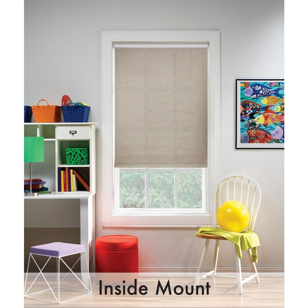 Bali Cut To Size Oatmeal Light Filtering Cordless Fabric Roller Shade 73 25 In W X