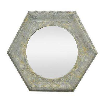 34 in. Three Hands Metal Framed Beveled Mirror-Grey