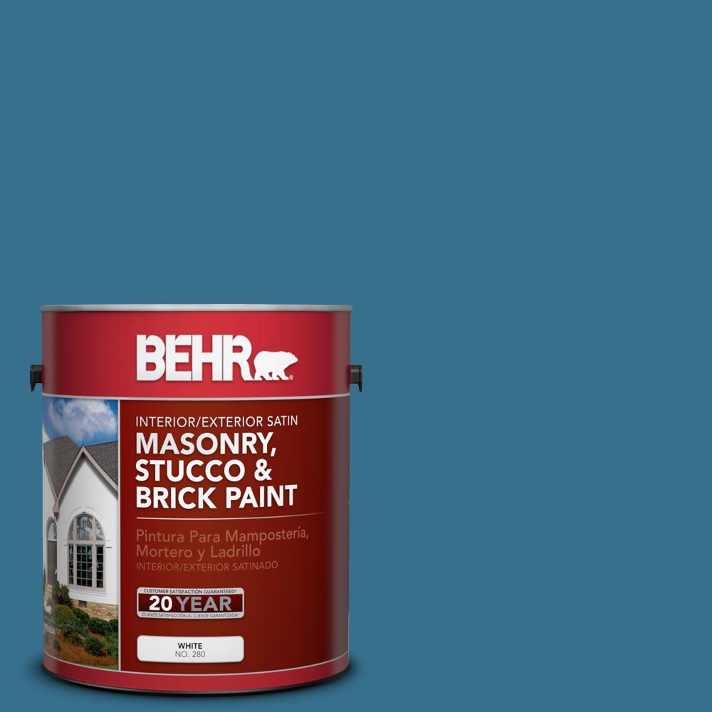 1 gal. #M490-6 Living Stream Satin Interior/Exterior Masonry, Stucco and Brick Paint
