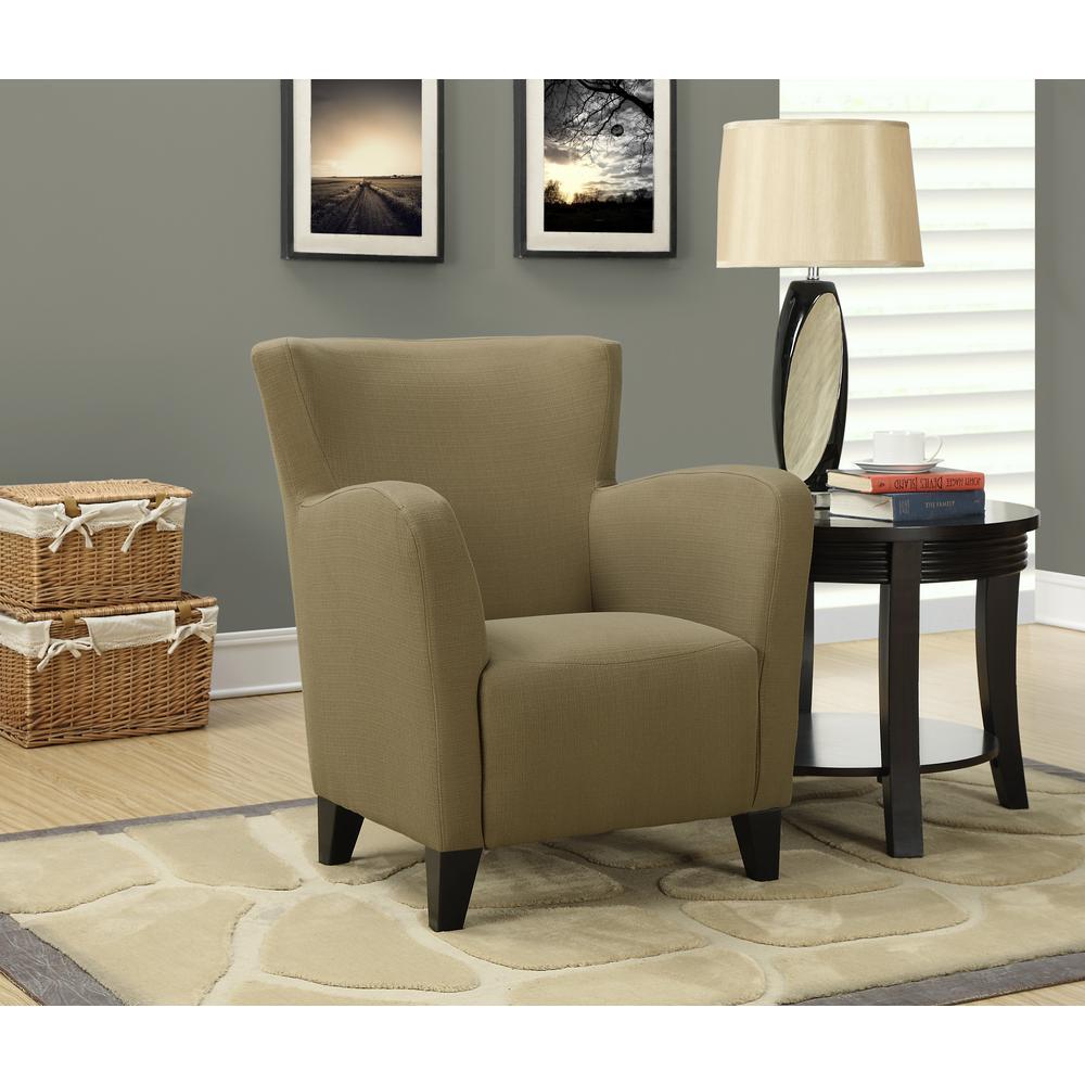 Monarch Specialties Europa Brown Linen Club Arm Chair I