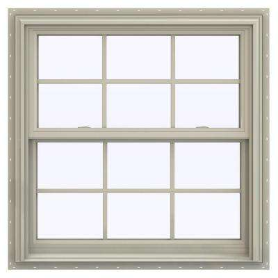 35.5 in. x 40.5 in. V-2500 Series Desert Sand Vinyl Double Hung Window with Colonial Grids/Grilles