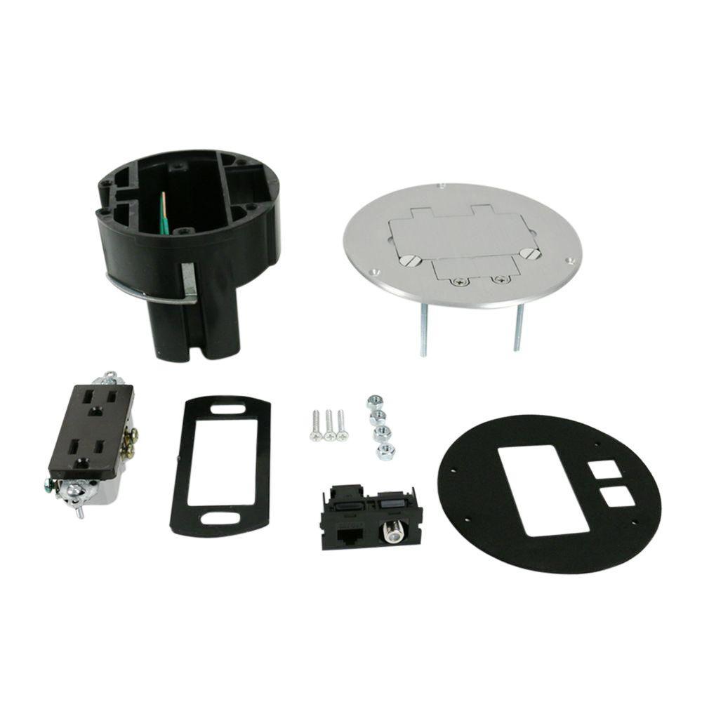 Dual Service Floor Box Kit with 15 Amp Receptacle and 1 RJ45 Cat 5e Jack, Coax F Jack, Aluminum Cover