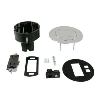 Dual Service Floor Box Kit with 15 Amp Receptacle and 1 RJ45 Cat 5e Jack, Coax F Jack, Aluminum Cover