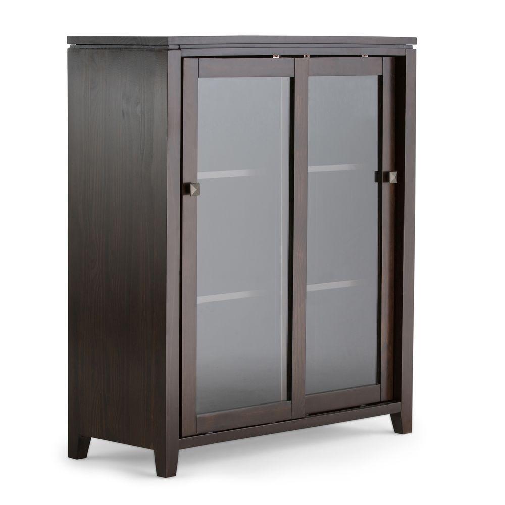 Cosmopolitan Solid Wood 36 in. Wide Contemporary Medium Storage Cabinet in Coffee Brown