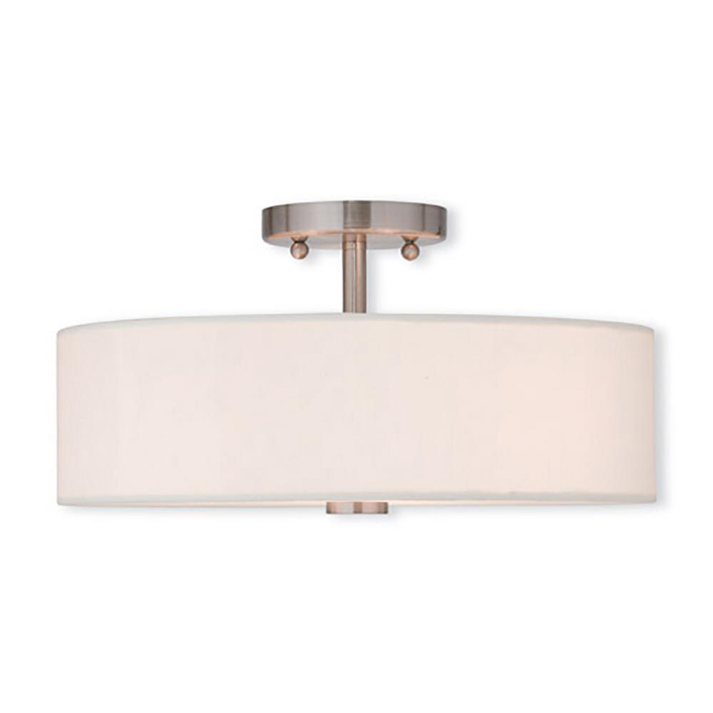 livex lighting brighton 3 light brushed nickel flushmount 51054 91