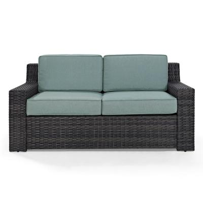 Beaufort 1-Piece Wicker Outdoor Loveseat with Mist Cushions