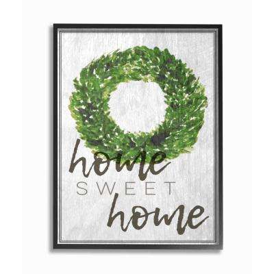 "11 in. x 14 in. ""Home Sweet Home Foliage Wreath"" by Daphne Polselli Wood Framed Wall Art"