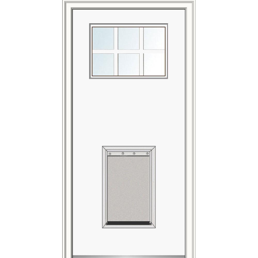 6 lite white fiberglass doors front doors the home depot