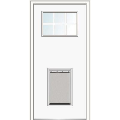 32 in. x 80 in. Classic Left-Hand 6-Lite Clear Painted Fiberglass Smooth Prehung Back Door with Extra Large Pet Door