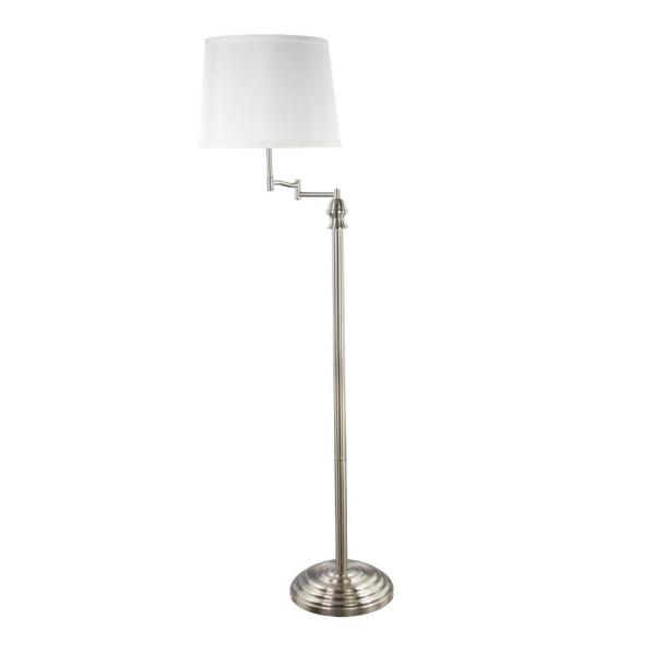58 in. Silver Shelf with White Fabric Lamp Shade Floor Lamp