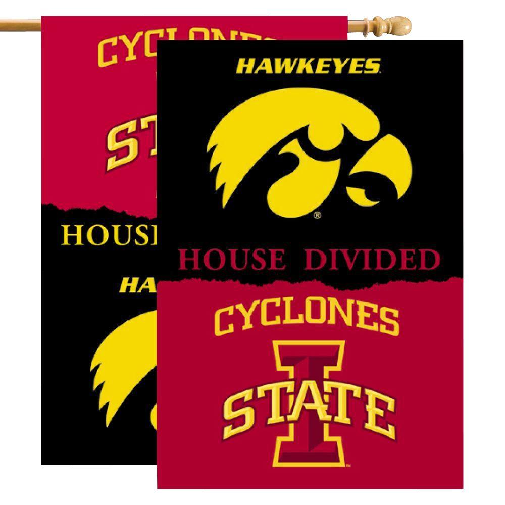 NCAA 28 in. x 40 in. Iowa/Iowa State Rivalry House Divided