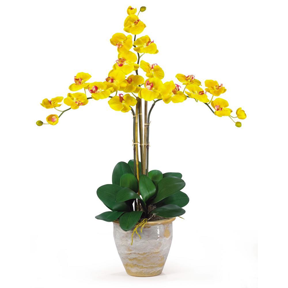 27 in. Triple Phalaenopsis Silk Orchid Flower Arrangement in Yellow