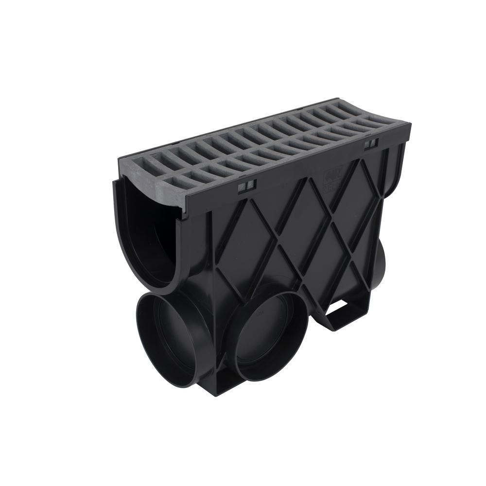 RELN Storm Drain 4.5 in. x 13.25 in. Inline Basin Complete with Portland Grey Grate