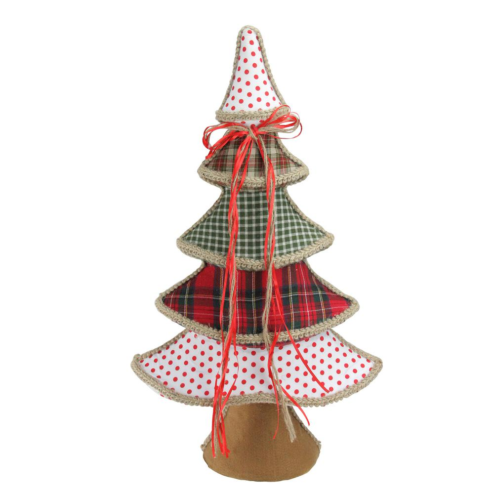23 in. Holiday Moments Red Green and White Plaid and Polka