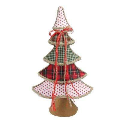 23 in. Holiday Moments Red Green and White Plaid and Polka Dot Christmas Tree Decoration