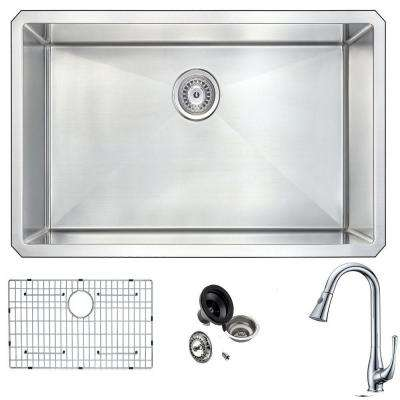 VANGUARD Undermount Stainless Steel 32 in. 0-Hole Single Bowl Kitchen Sink with Singer Faucet in Brushed Satin